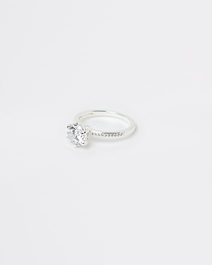 Silver Plated Round Crystal Ring