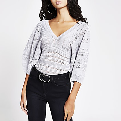 Silver pretty stitch puff sleeve top