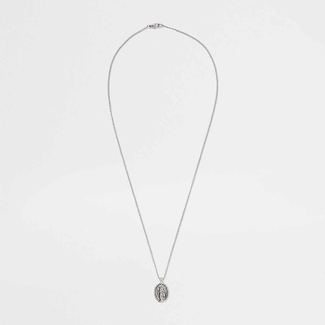 Silver religious pendant necklace