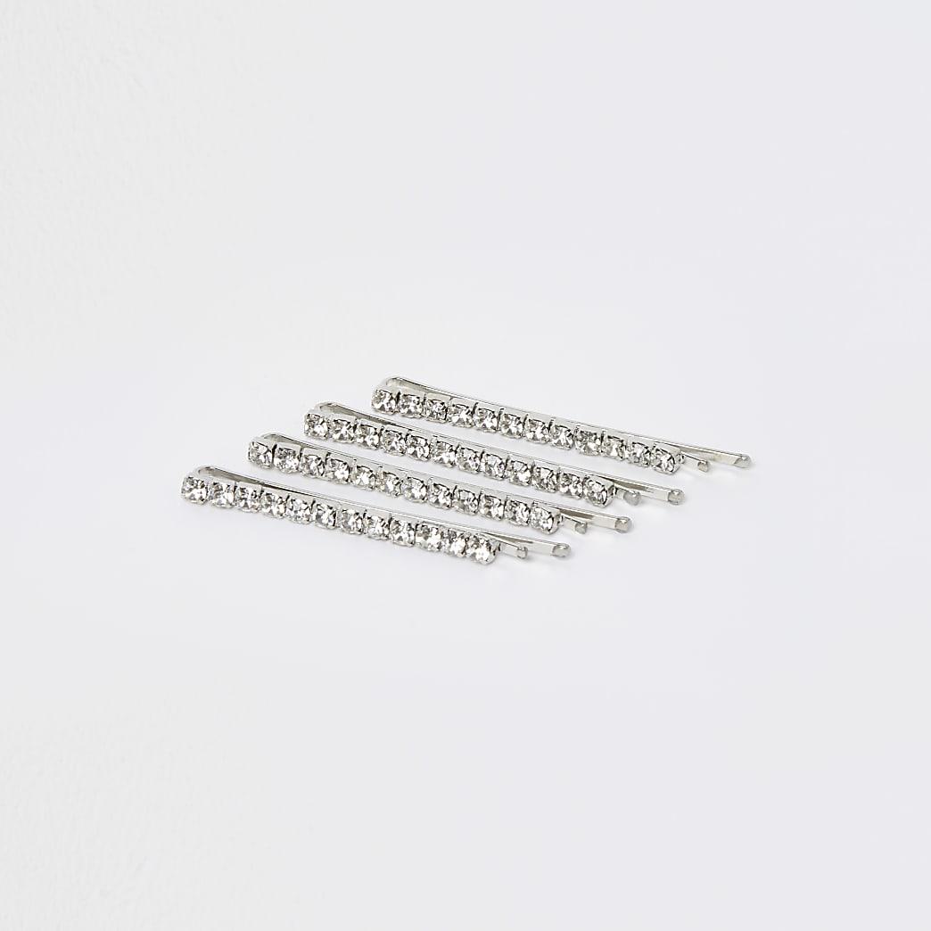 Silver rhinestone 4 pack hair slides