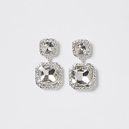 Silver rhinestone double drop earrings