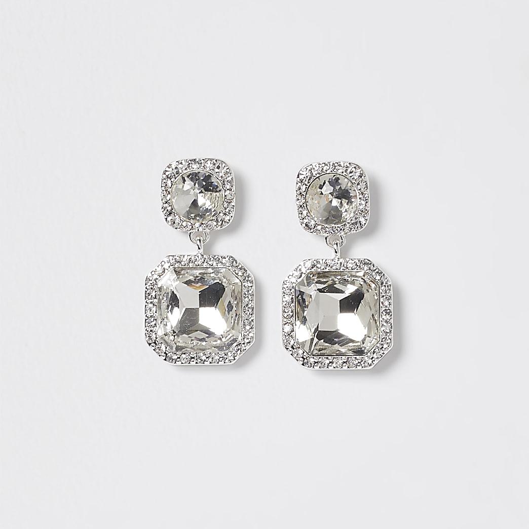 Silver rhinestone double drop earrings
