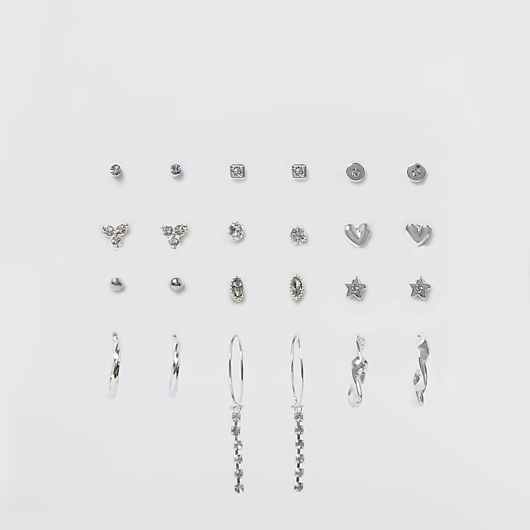 Silver rhinestone mixed earrings 12 pack