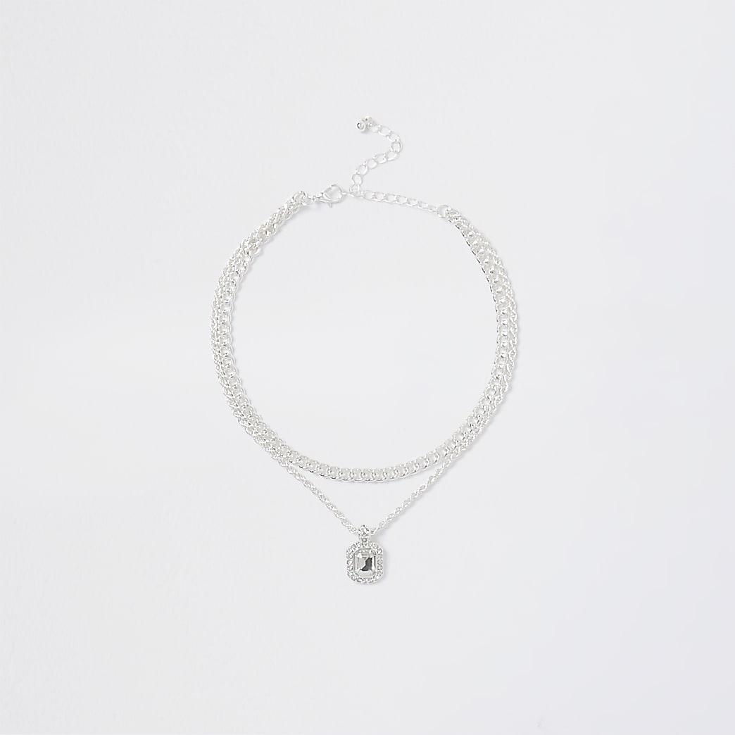 Silver rhinestone pendant layered necklace