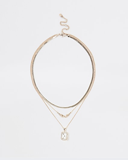 Silver rhinestone pendant multirow necklace