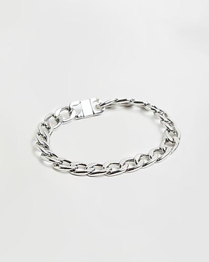 Silver RI branded clasp chain bracelet