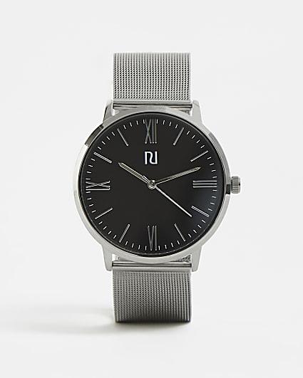 Silver RI branded mesh strap watch