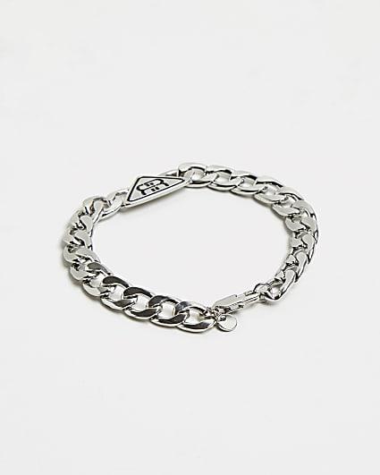 Silver RI branded triangle chain bracelet