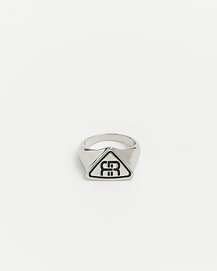 Silver RI branded triangle ring