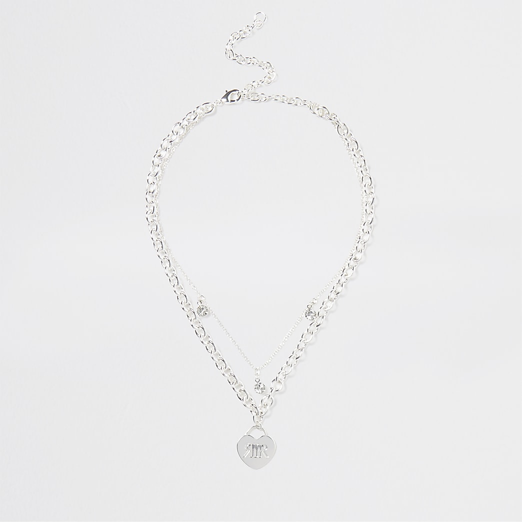 Silver RI heart layering necklace