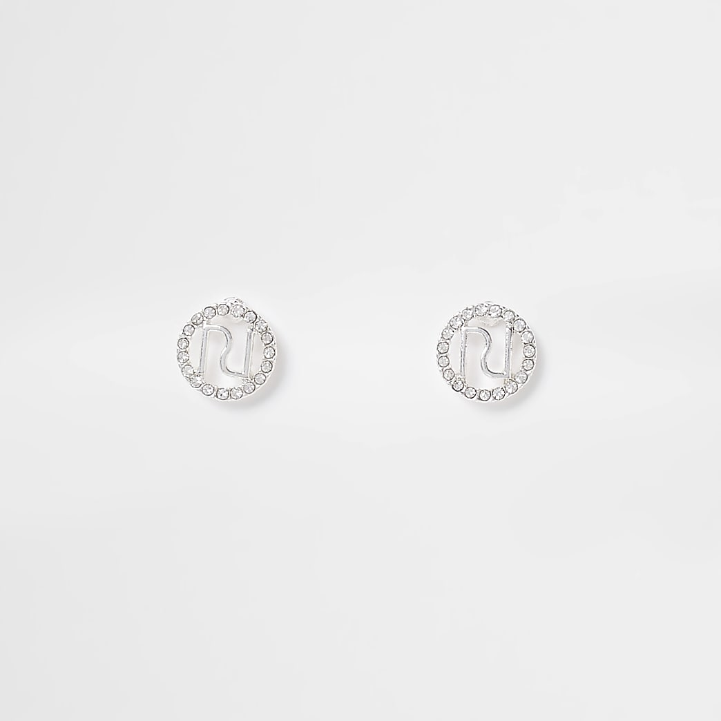 Silver RI logo pave surround stud earring