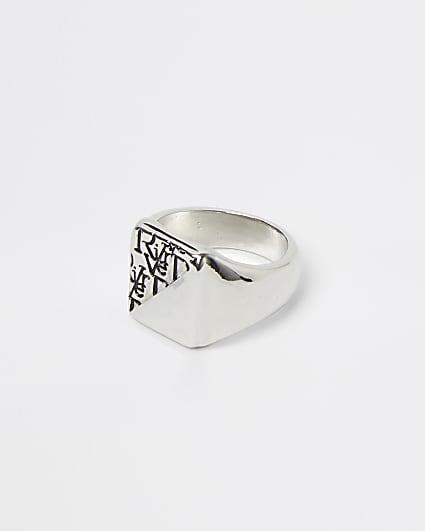 Silver RI monogram signet ring
