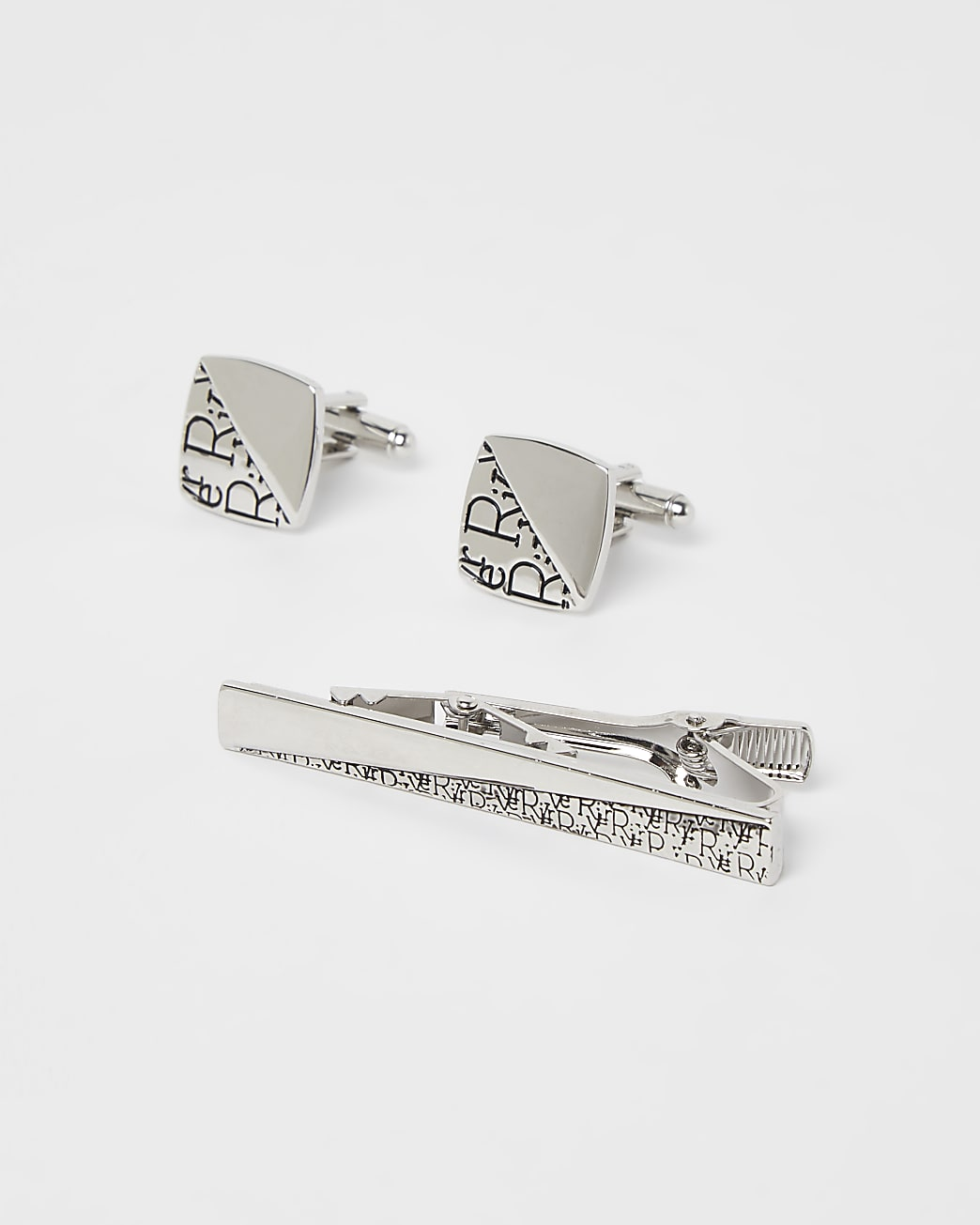 Silver RI monogram tie pin and cufflinks set