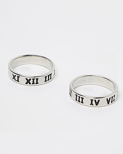Silver roman numeral engraved rings 2 pack