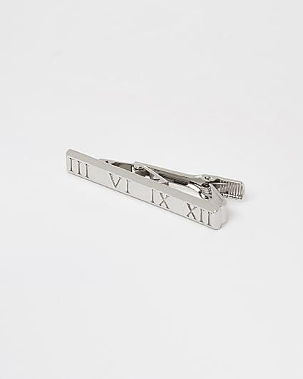 Silver roman numeral tie pin