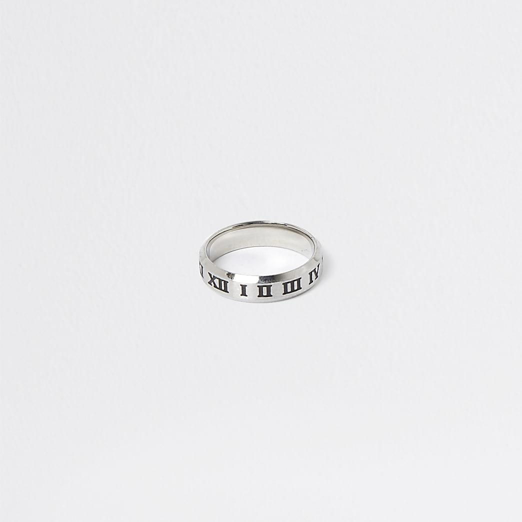 Silver roman numerals ring