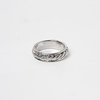 Silver rope detail ring