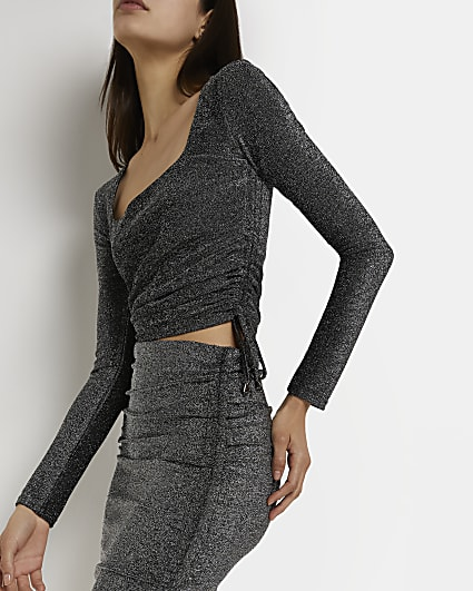 Silver ruched fitted top