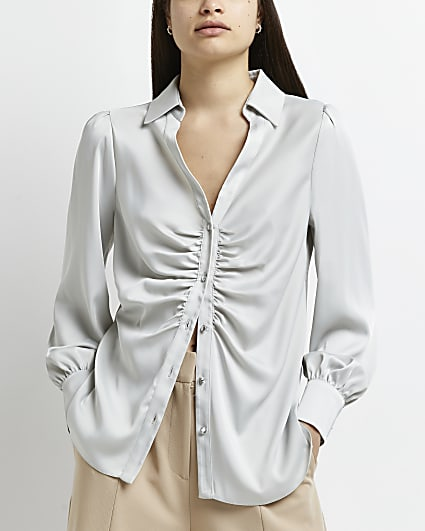 Silver ruched front shirt