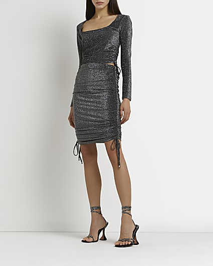 Silver ruched side mini skirt