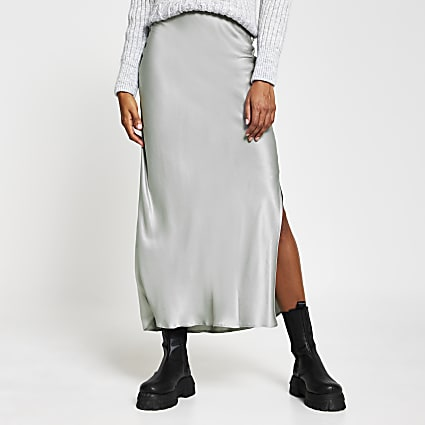 Silver satin split side maxi skirt