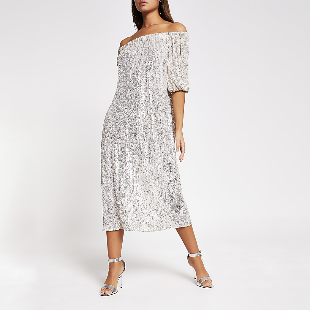 Silver sequin bardot midi dress