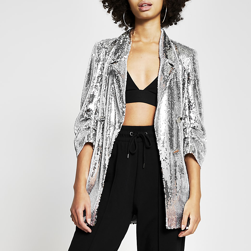 Silver sequin button detail blazer