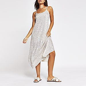 Silver sequin cami dress