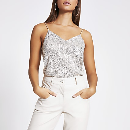 Silver sequin cami top
