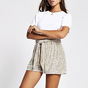 Silver sequin embellished shorts