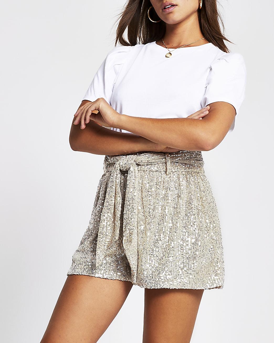 Silver sequin embellished shorts