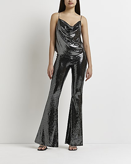 Silver sequin flared trousers