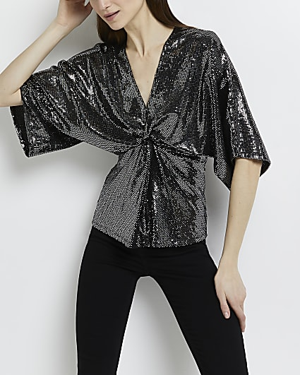 Silver sequin knot front top