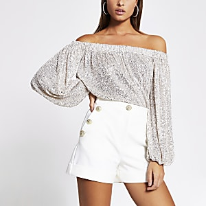 Silver sequin long sleeve bardot top