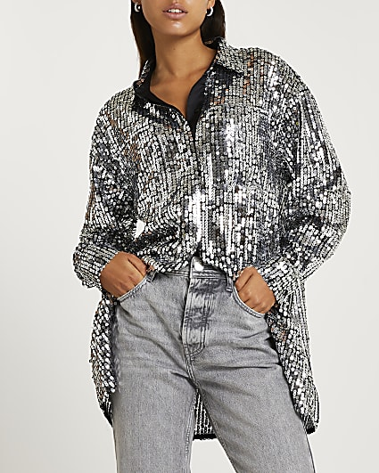 Silver sequin oversized shirt