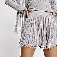 Silver sequin tassel embellished shorts