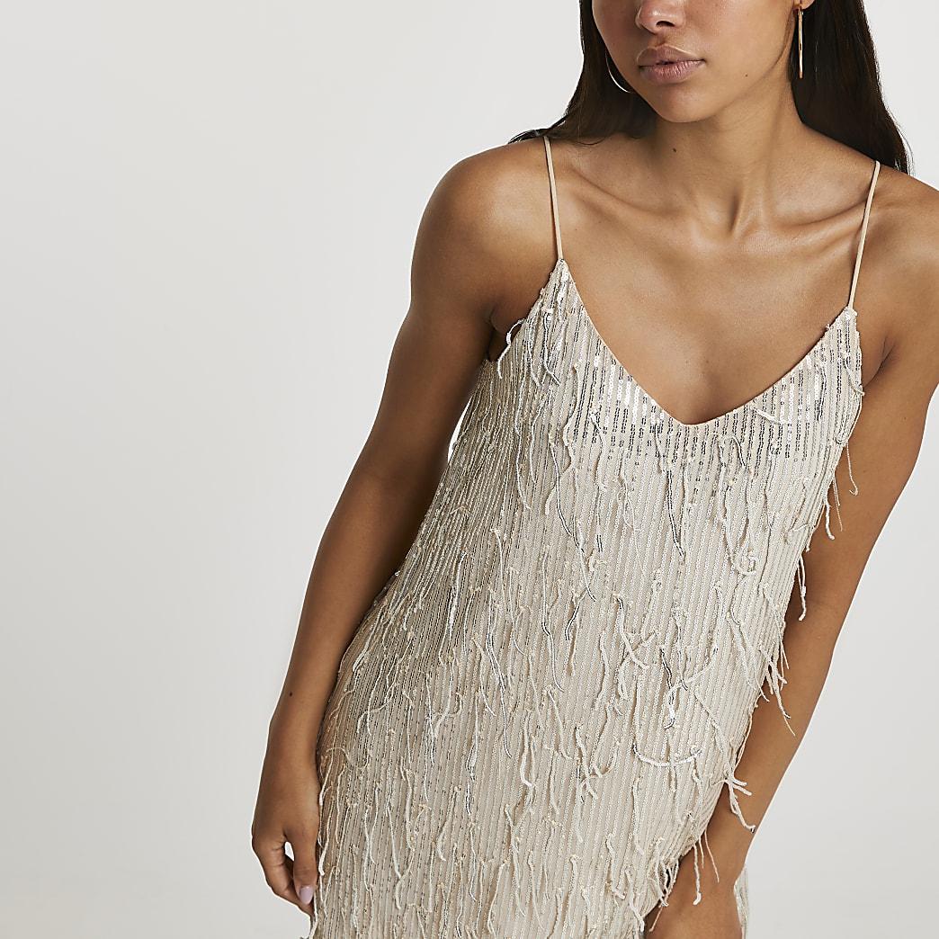 Silver sequin tassel slip dress