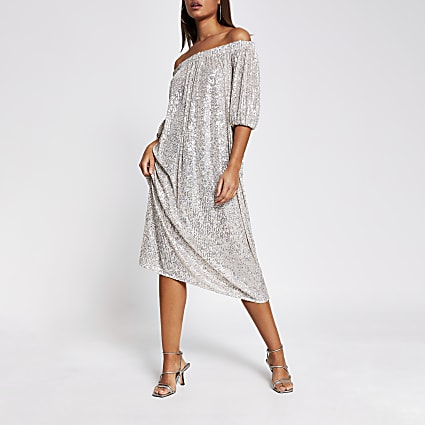Silver short sleeve bardot sequin midi dress