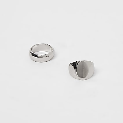 Silver signet ring 2 pack