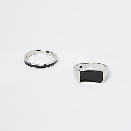 Silver signet ring multipack