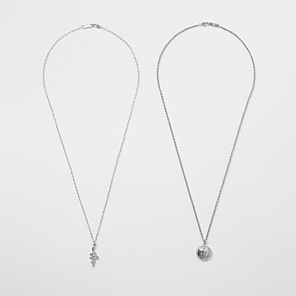 Silver skull necklace 2 pack