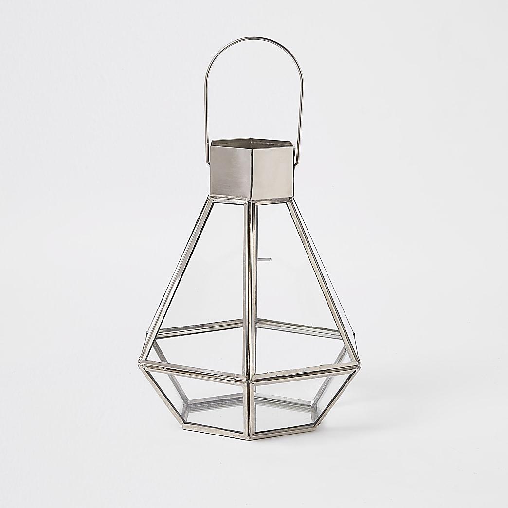Zilveren kleine glazen lantaarn