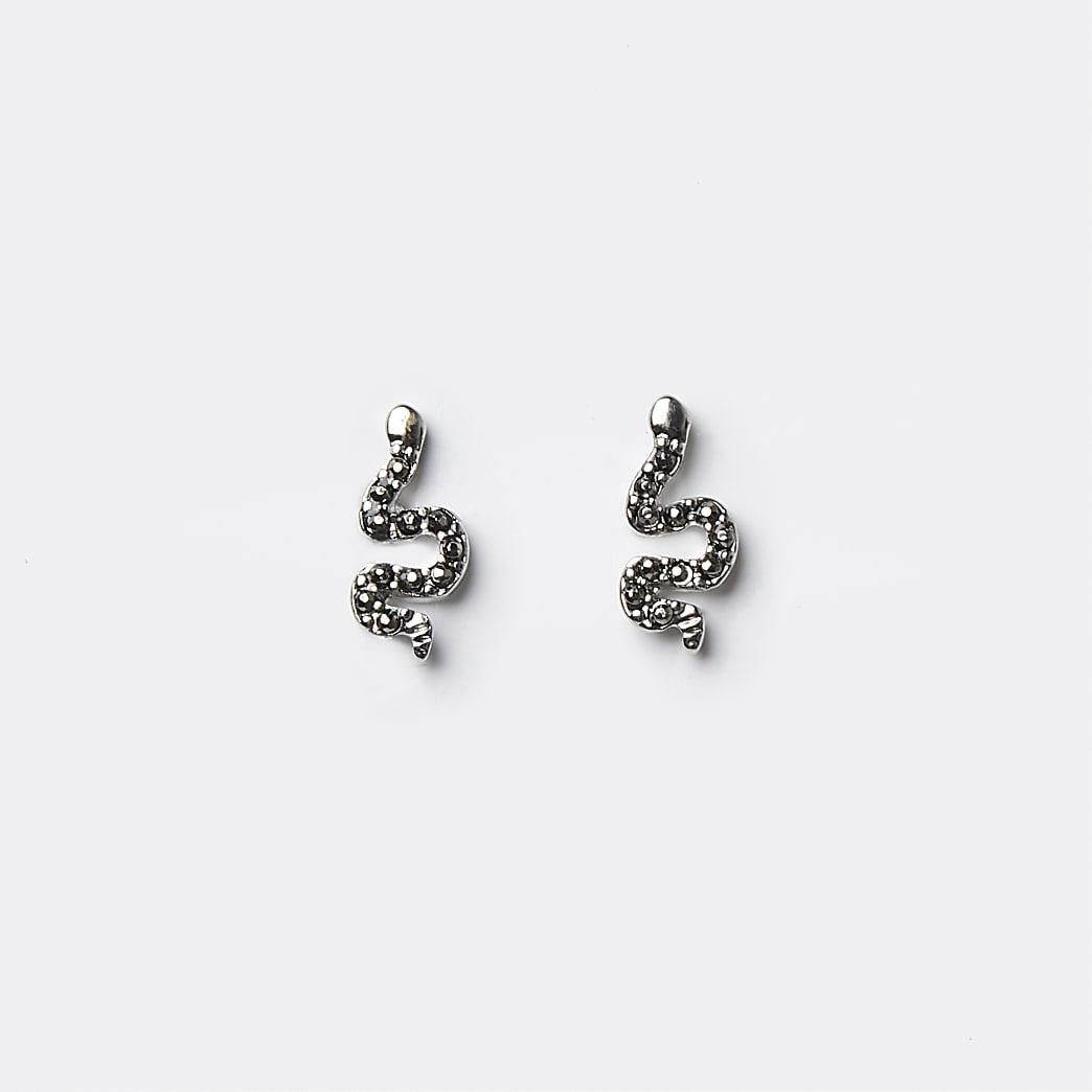 Silver snake stud earrings