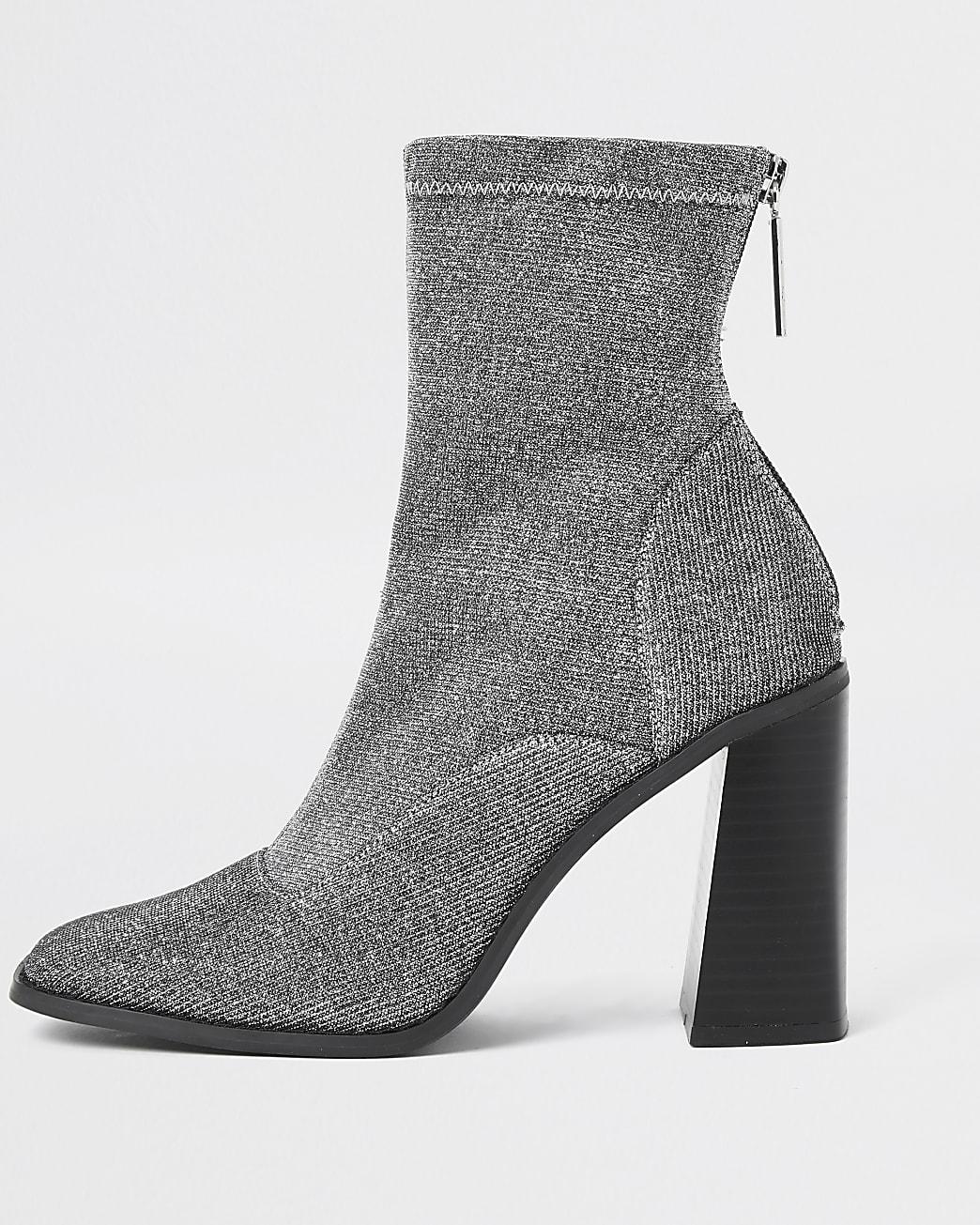 Silver sock block heel ankle boots