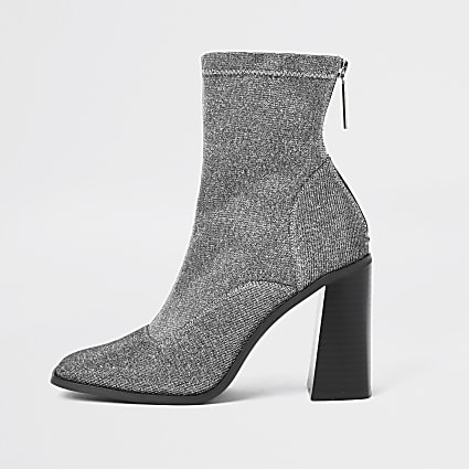 Silver sock block heel ankle boots