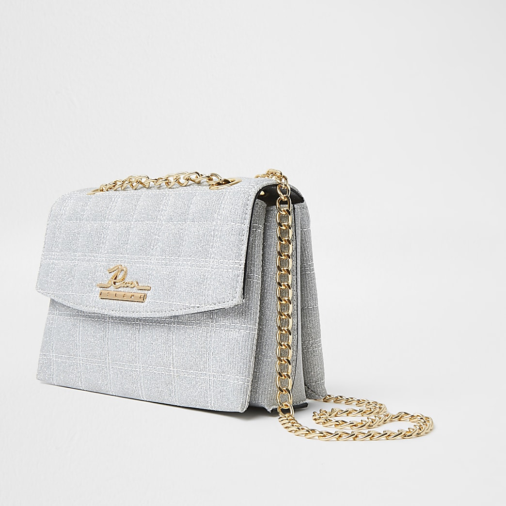 Silver sparkle quilted satchel bag