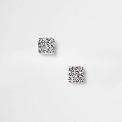 Silver Square rhinestone stud earrings