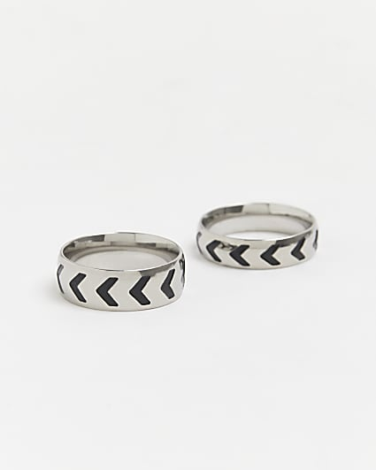 Silver stainless steel band rings 2 pack