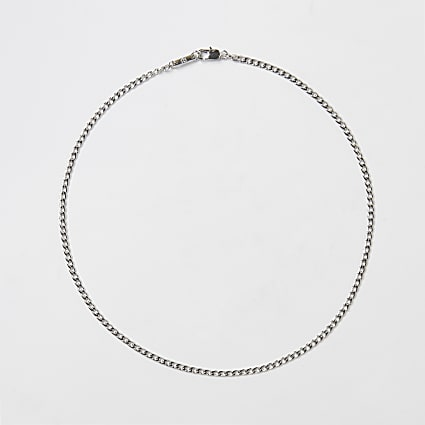 Silver stainless steel chain necklace