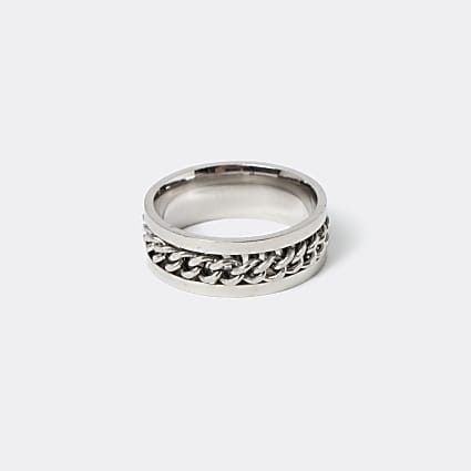 Silver stainless steel chain ring